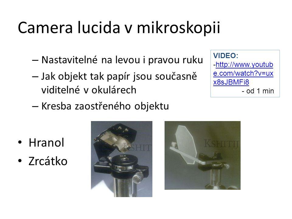 Camera lucida v mikroskopii – Nastavitelné na levou i pravou ruku – Jak objekt tak papír jsou současně viditelné v okulárech – Kresba zaostřeného obje