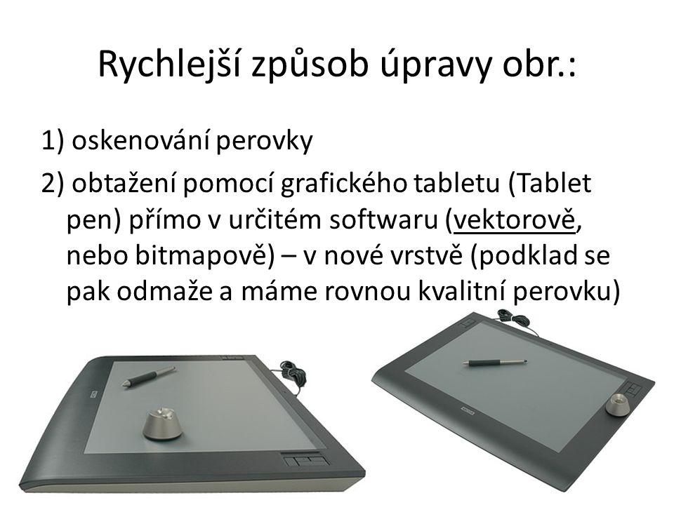 Rychlejší způsob úpravy obr.: 1) oskenování perovky 2) obtažení pomocí grafického tabletu (Tablet pen) přímo v určitém softwaru (vektorově, nebo bitma