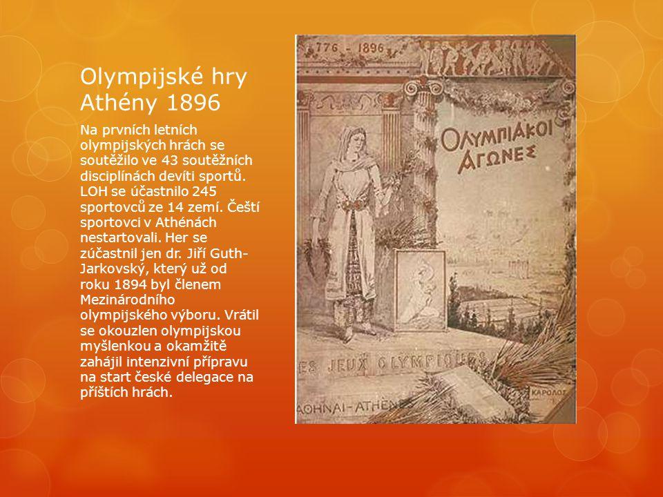 Olympijské hry Athény 1896 Na prvních letních olympijských hrách se soutěžilo ve 43 soutěžních disciplínách devíti sportů. LOH se účastnilo 245 sporto