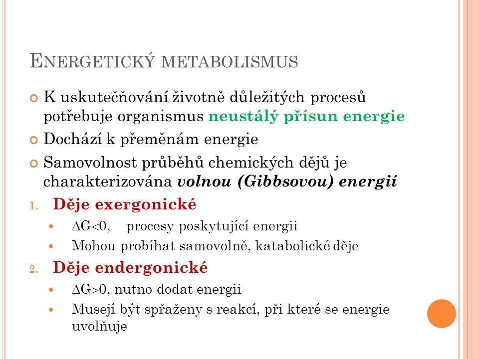 E NERGETICKÝ METABOLISMUS K uskutečňování životně důležitých procesů potřebuje organismus neustálý přísun energie Dochází k přeměnám energie Samovolnost průběhů chemických dějů je charakterizována volnou (Gibbsovou) energií 1.