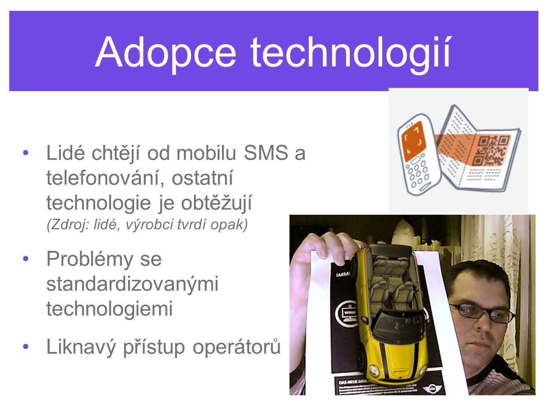 Adopce technologií Lidé chtějí od mobilu SMS a telefonování, ostatní technologie je obtěžují (Zdroj: lidé, výrobci tvrdí opak) Problémy se standardizovanými technologiemi Liknavý přístup operátorů