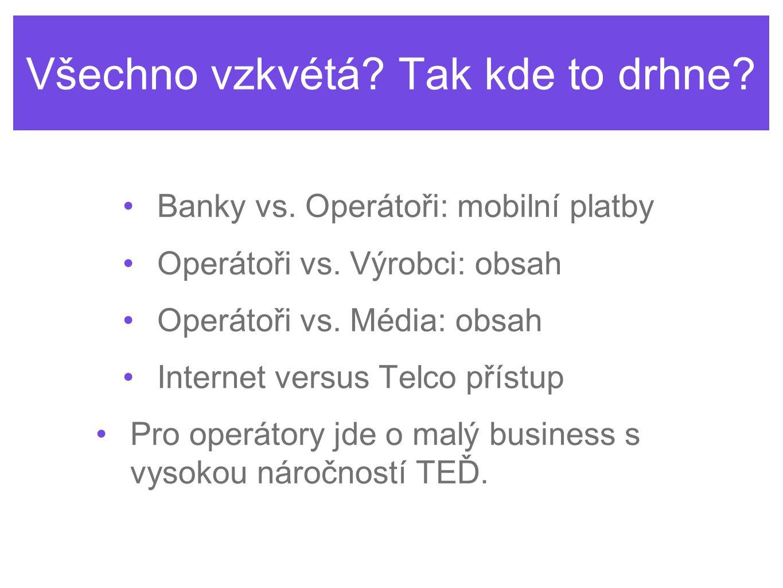 Všechno vzkvétá. Tak kde to drhne. Banky vs. Operátoři: mobilní platby Operátoři vs.