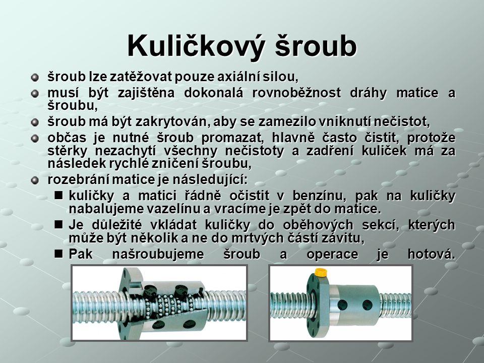 Kuličkový šroub šroub lze zatěžovat pouze axiální silou, musí být zajištěna dokonalá rovnoběžnost dráhy matice a šroubu, šroub má být zakrytován, aby