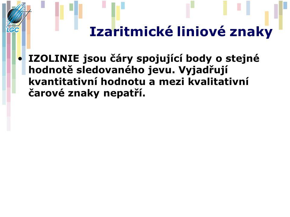 Izaritmické liniové znaky IZOLINIE jsou čáry spojující body o stejné hodnotě sledovaného jevu. Vyjadřují kvantitativní hodnotu a mezi kvalitativní čar