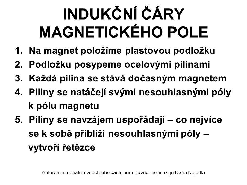 INDUKČNÍ ČÁRY MAGNETICKÉHO POLE indukční čáry magnetického pole čáry proložené řetězci ocelových pilin v okolí magnetu myšlené čáry znázorňují silové působení magnetického pole ve všech následujících pokusech znázorňujeme pouze indukční čáry magnetického pole v rovině plastové podložky Autorem materiálu a všech jeho částí, není-li uvedeno jinak, je Ivana Nejedlá