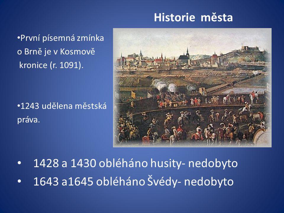 Historie města První písemná zmínka o Brně je v Kosmově kronice (r.