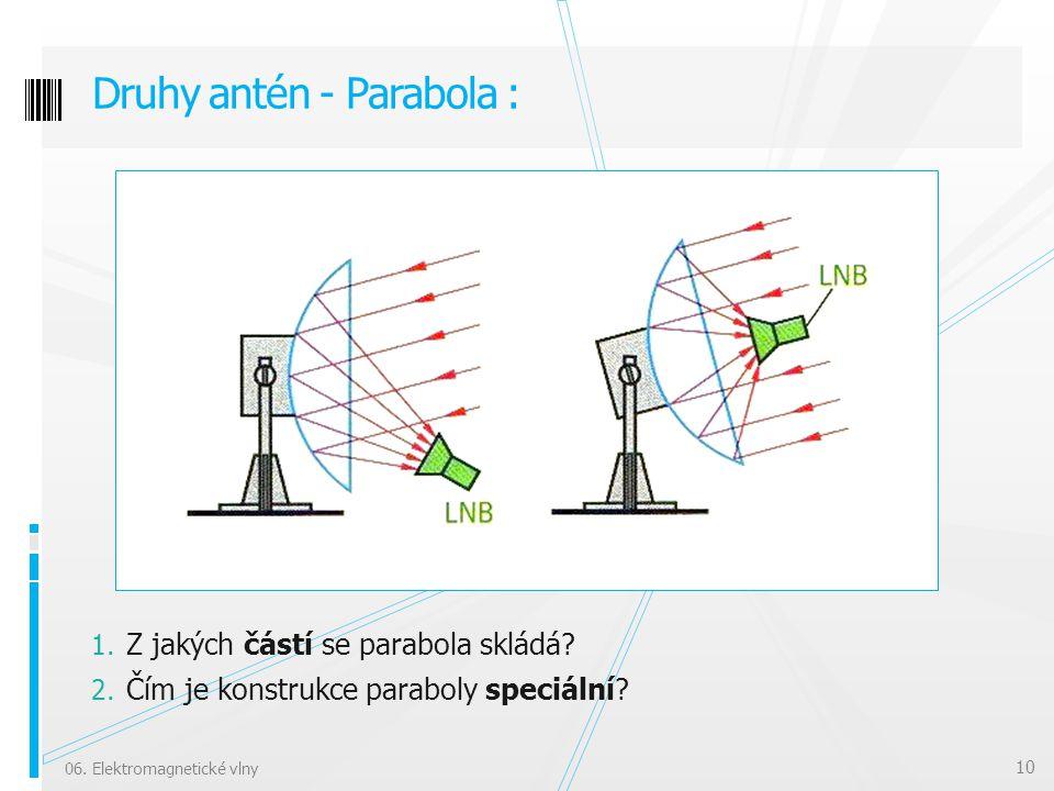 1. Z jakých částí se parabola skládá? 2. Čím je konstrukce paraboly speciální? Druhy antén - Parabola : 06. Elektromagnetické vlny 10