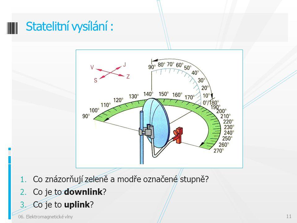 1. Co znázorňují zeleně a modře označené stupně? 2. Co je to downlink? 3. Co je to uplink? Statelitní vysílání : 06. Elektromagnetické vlny 11