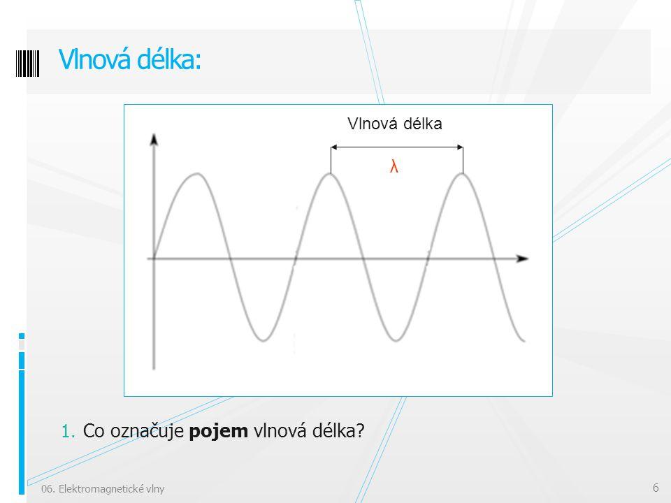 1. Co označuje pojem vlnová délka? Vlnová délka: 06. Elektromagnetické vlny 6 Vlnová délka λ
