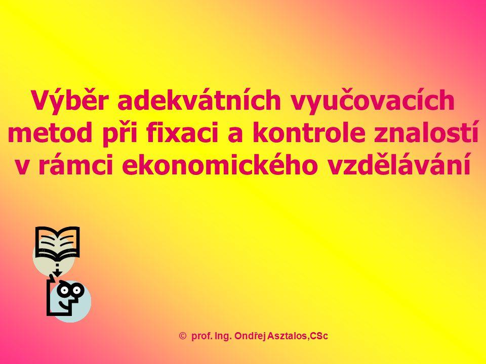 Výběr adekvátních vyučovacích metod při fixaci a kontrole znalostí v rámci ekonomického vzdělávání ©prof.