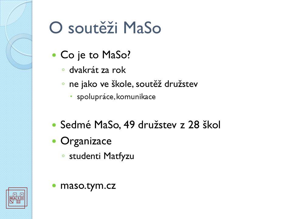 O soutěži MaSo Co je to MaSo? ◦ dvakrát za rok ◦ ne jako ve škole, soutěž družstev  spolupráce, komunikace Sedmé MaSo, 49 družstev z 28 škol Organiza