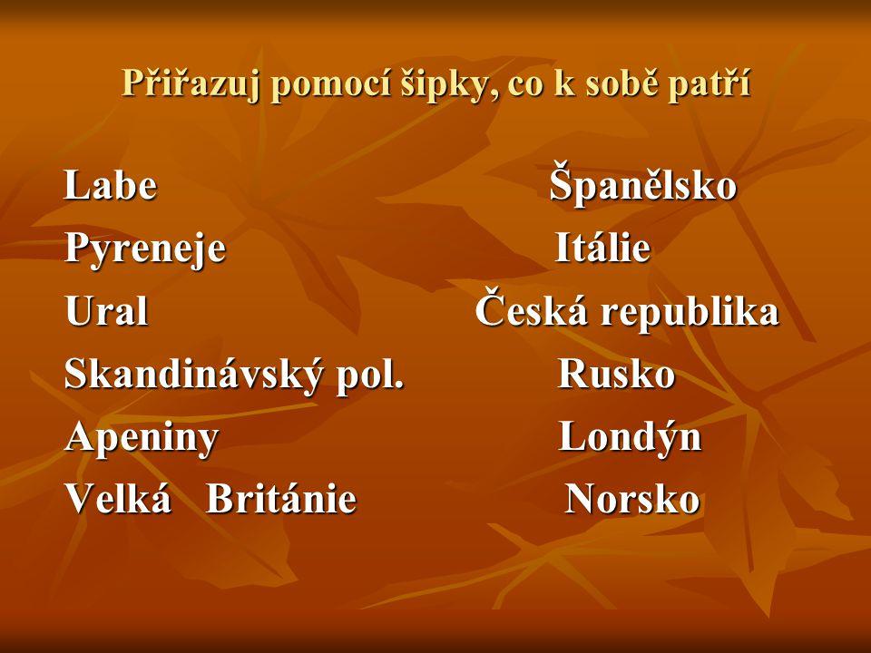 Přiřazuj pomocí šipky, co k sobě patří Labe Španělsko Labe Španělsko Pyreneje Itálie Pyreneje Itálie Ural Česká republika Ural Česká republika Skandinávský pol.