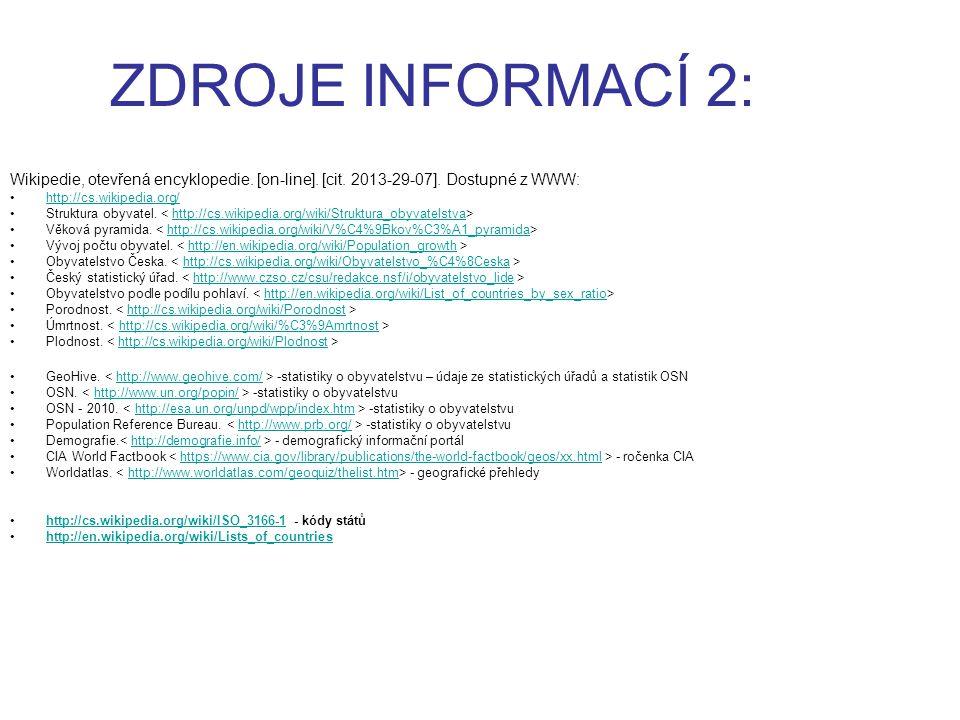 ZDROJE INFORMACÍ 2: Wikipedie, otevřená encyklopedie. [on-line]. [cit. 2013-29-07]. Dostupné z WWW: http://cs.wikipedia.org/ Struktura obyvatel. http:
