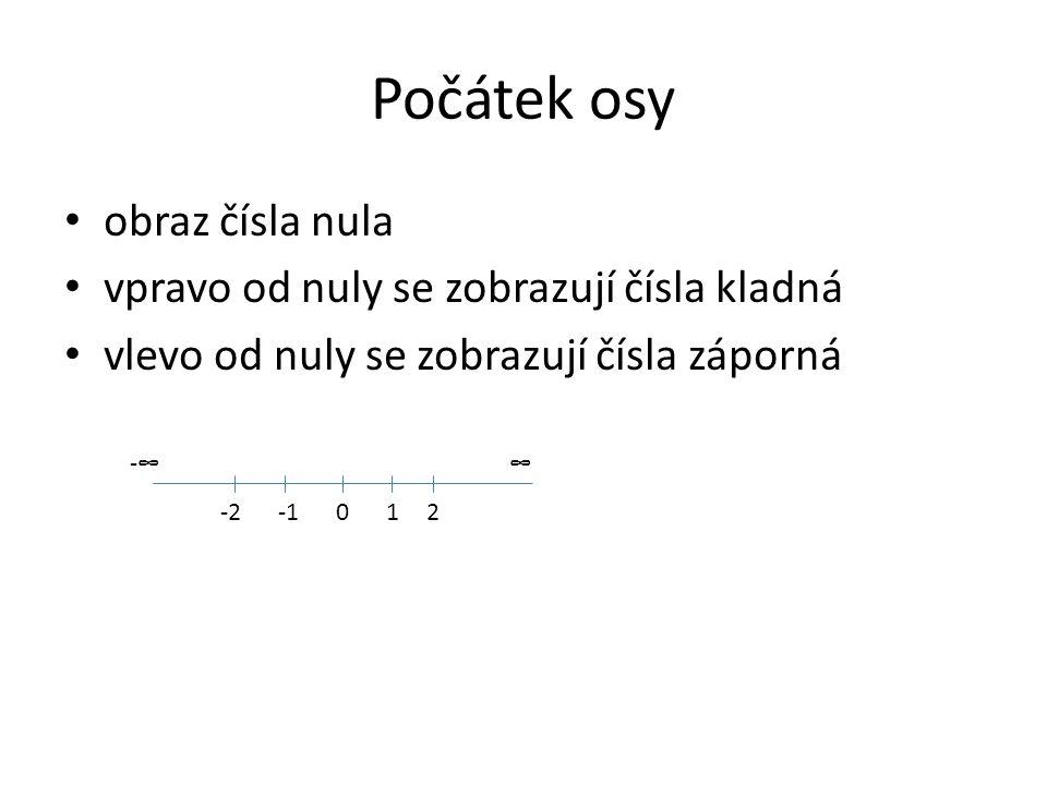 Počátek osy obraz čísla nula vpravo od nuly se zobrazují čísla kladná vlevo od nuly se zobrazují čísla záporná 01-22 -∞∞