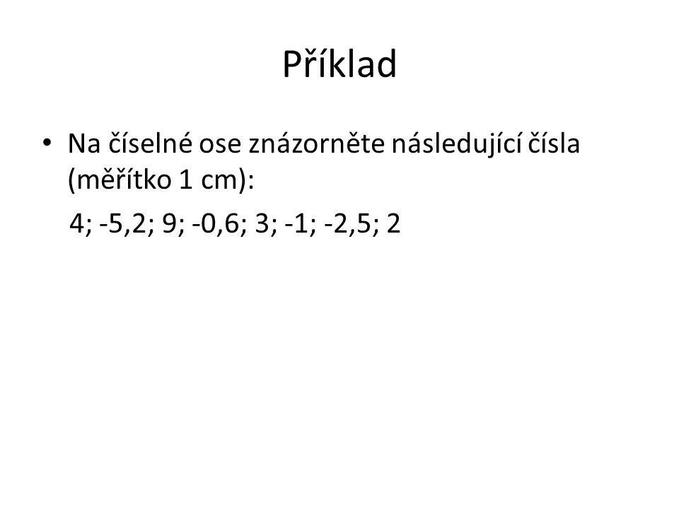 Příklad Na číselné ose znázorněte následující čísla (měřítko 1 cm): 4; -5,2; 9; -0,6; 3; -1; -2,5; 2