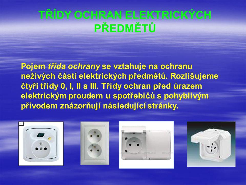 TŘÍDY OCHRAN ELEKTRICKÝCH PŘEDMĚTŮ Pojem třída ochrany se vztahuje na ochranu neživých částí elektrických předmětů. Rozlišujeme čtyři třídy 0, I, II a