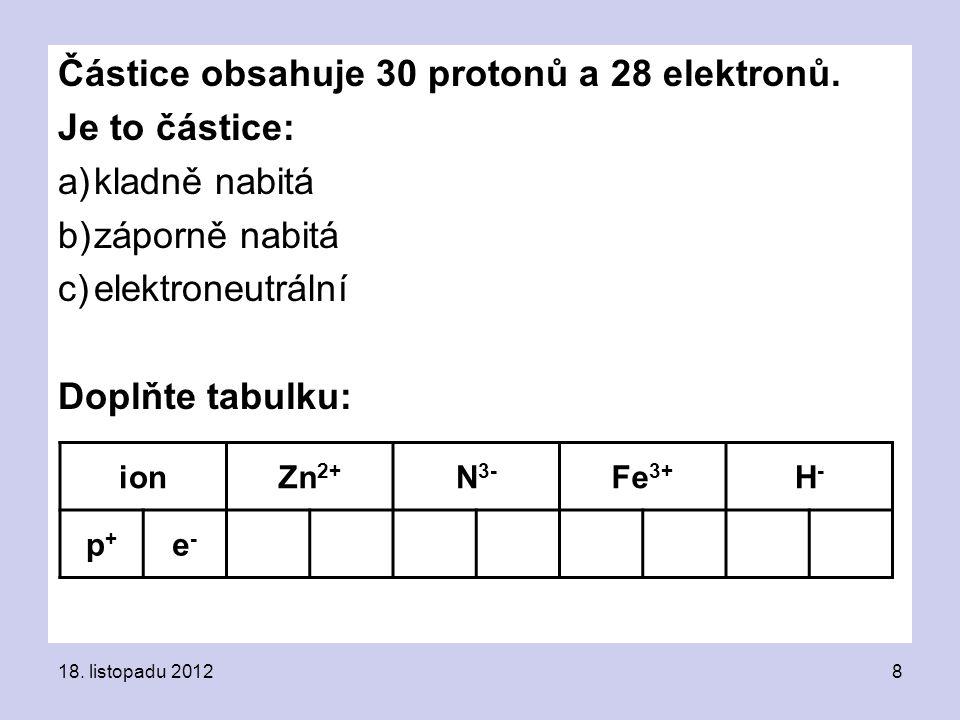 Částice obsahuje 30 protonů a 28 elektronů.