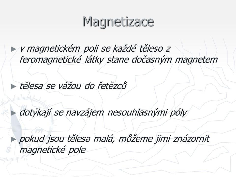 znázornění magnetického pole ► ► tělesy vhodnými pro znázornění magnetického pole jsou ocelové piliny ► ► řetězce pilin zobrazující magnetické pole ► ► hustota řetězců naznačuje, kde je pole nejsilnější ► ► tvar řetězců naznačuje směr působení na piliny