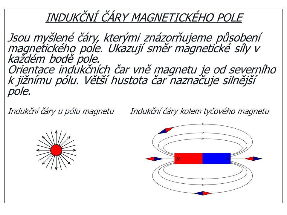 INDUKČNÍ ČÁRY MAGNETICKÉHO POLE Jsou myšlené čáry, kterými znázorňujeme působení magnetického pole. Ukazují směr magnetické síly v každém bodě pole. O