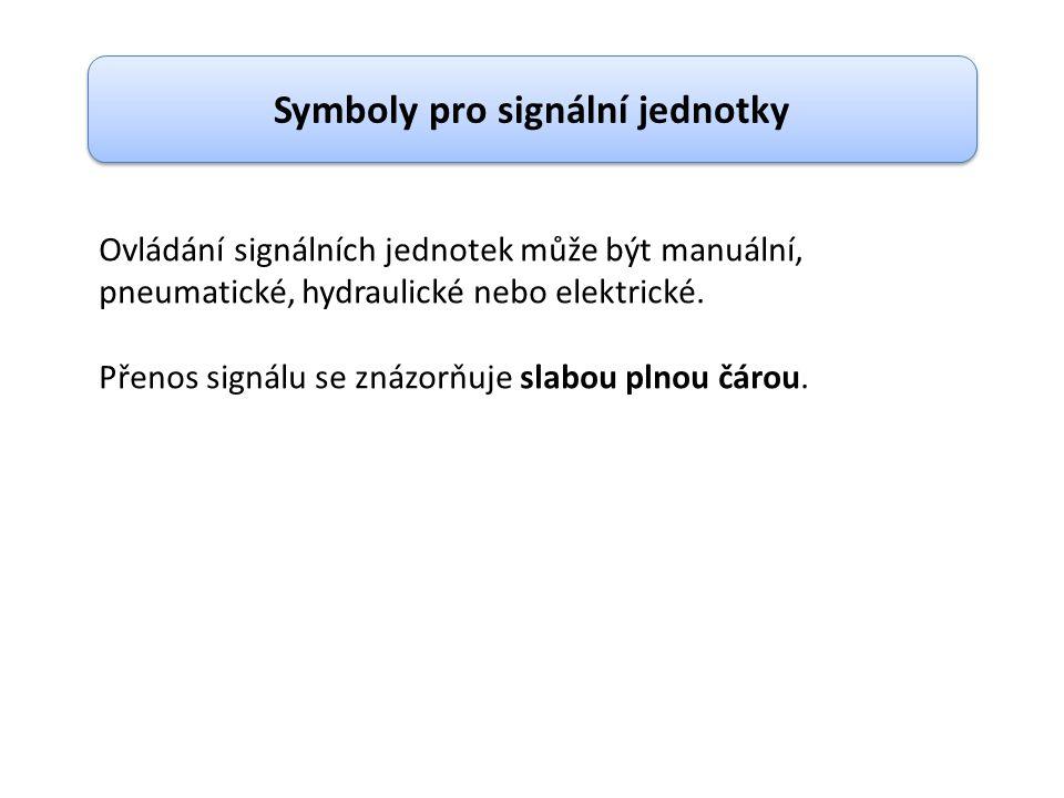 Symboly pro signální jednotky Ovládání signálních jednotek může být manuální, pneumatické, hydraulické nebo elektrické. Přenos signálu se znázorňuje s