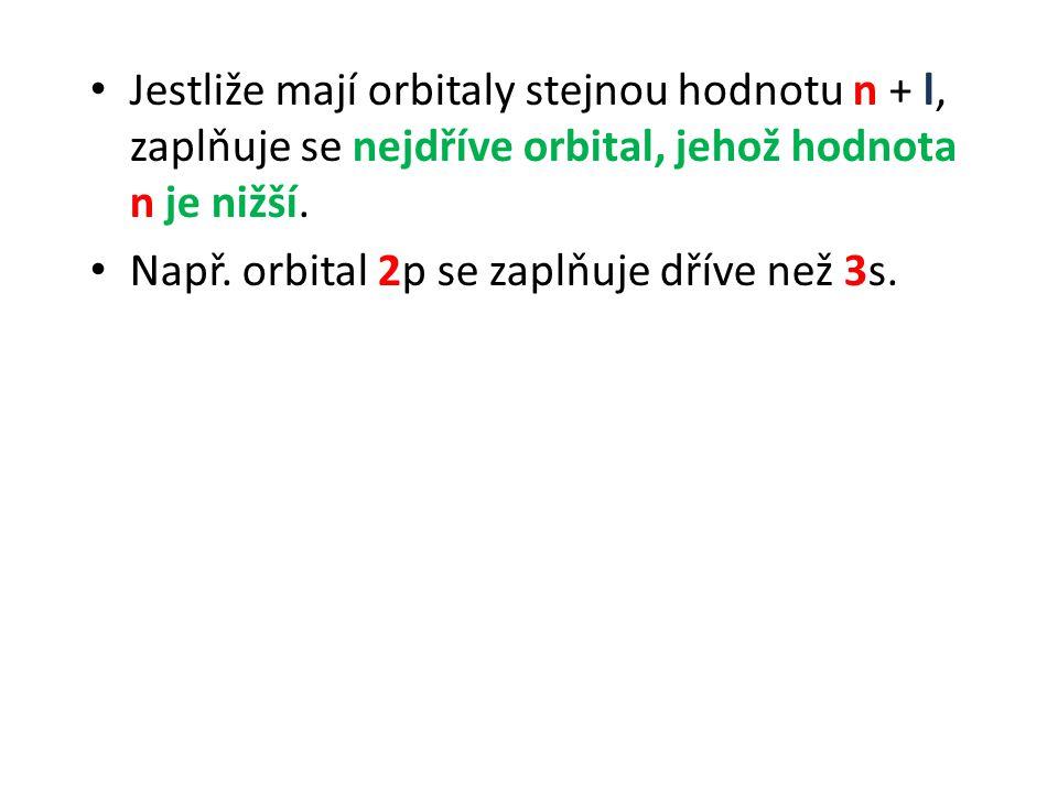 Např. orbital 2p se zaplňuje dříve než 3s.
