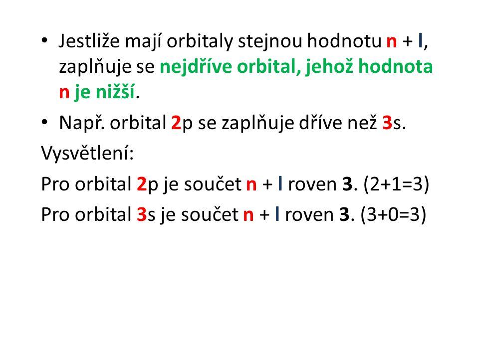 Jestliže mají orbitaly stejnou hodnotu n + l, zaplňuje se nejdříve orbital, jehož hodnota n je nižší. Např. orbital 2p se zaplňuje dříve než 3s. Vysvě