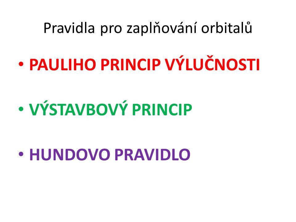 Pravidla pro zaplňování orbitalů PAULIHO PRINCIP VÝLUČNOSTI VÝSTAVBOVÝ PRINCIP HUNDOVO PRAVIDLO