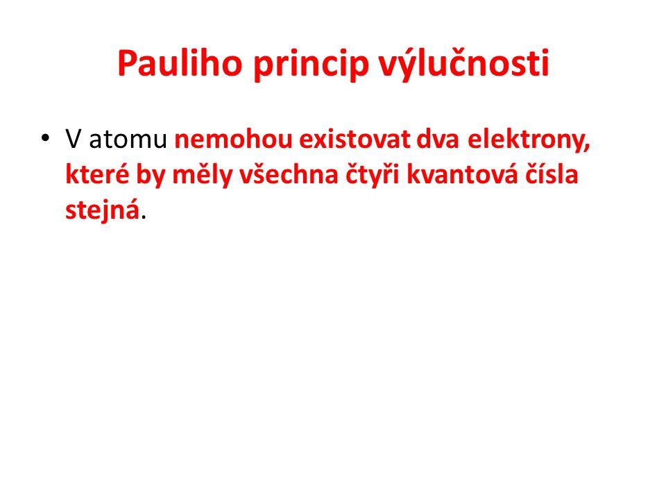V atomu nemohou existovat dva elektrony, které by měly všechna čtyři kvantová čísla stejná.