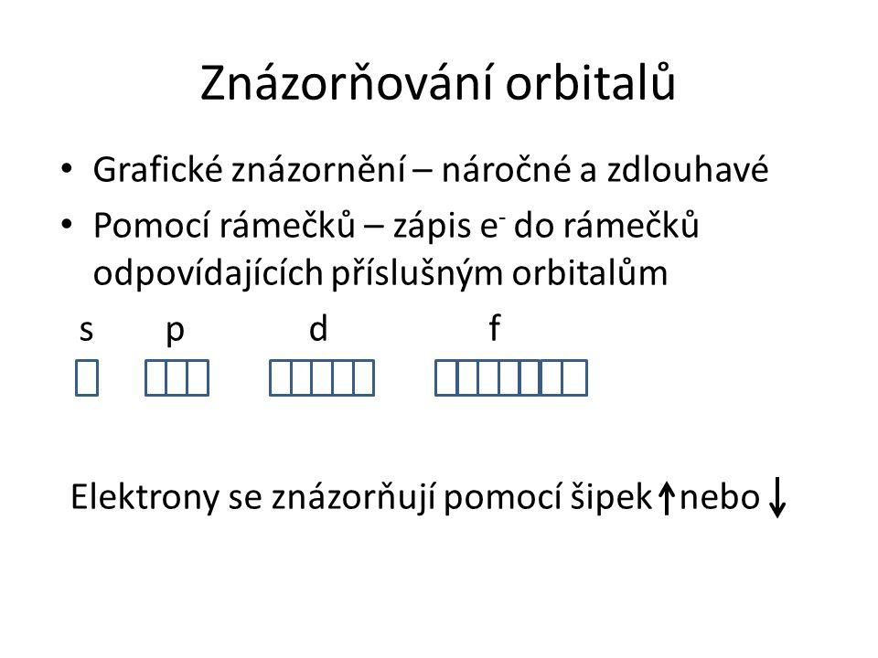 Grafické znázornění – náročné a zdlouhavé Pomocí rámečků – zápis e - do rámečků odpovídajících příslušným orbitalům s p d f Elektrony se znázorňují po