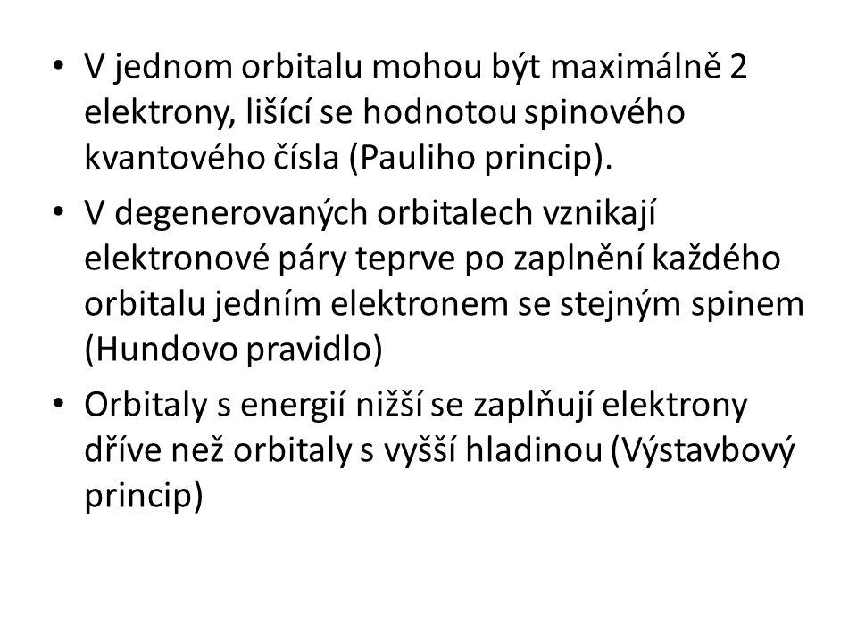 V jednom orbitalu mohou být maximálně 2 elektrony, lišící se hodnotou spinového kvantového čísla (Pauliho princip). V degenerovaných orbitalech vznika