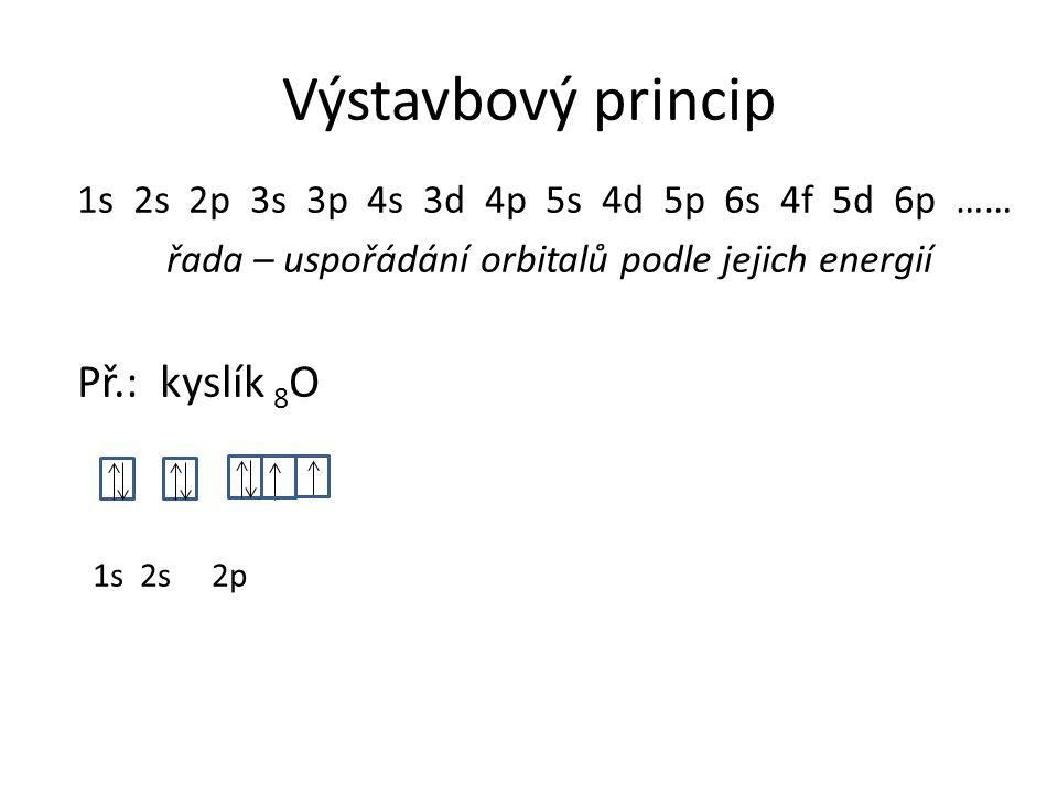1s 2s 2p 3s 3p 4s 3d 4p 5s 4d 5p 6s 4f 5d 6p …… řada – uspořádání orbitalů podle jejich energií Př.: kyslík 8 O 1s 2s 2p Výstavbový princip