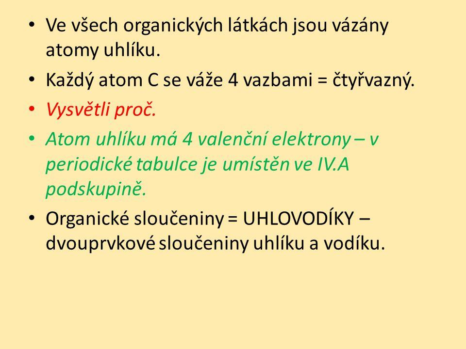 Ve všech organických látkách jsou vázány atomy uhlíku.