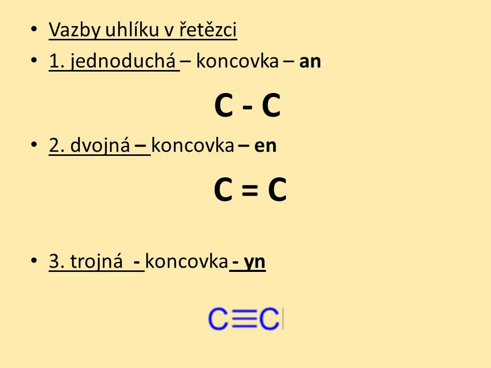Vazby uhlíku v řetězci 1. jednoduchá – koncovka – an C - C 2.