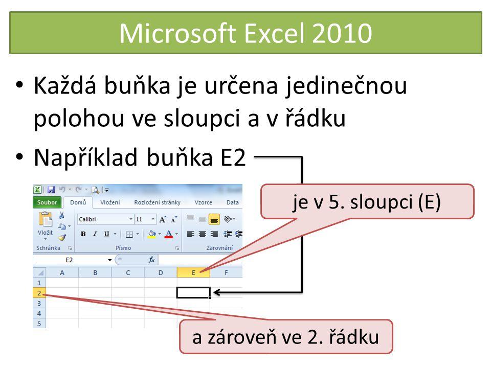 Microsoft Excel 2010 Poloze buňky ve sloupci a řádku říkáme adresa buňky Buňky mohou obsahovat: – hodnoty (čísla, text) – vzorce Buňky můžeme formátovat (písmo, pozadí, ohraničení, velikost) Předtím je ale musíme označit