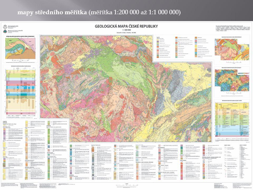 mapy velkého měřítka (od plánů po mapy o měřítku 1:200 000, zobrazují pouze malá území, jsou minimálně zkreslené - zkreslení způsobuje hlavně členitý georeliéf)