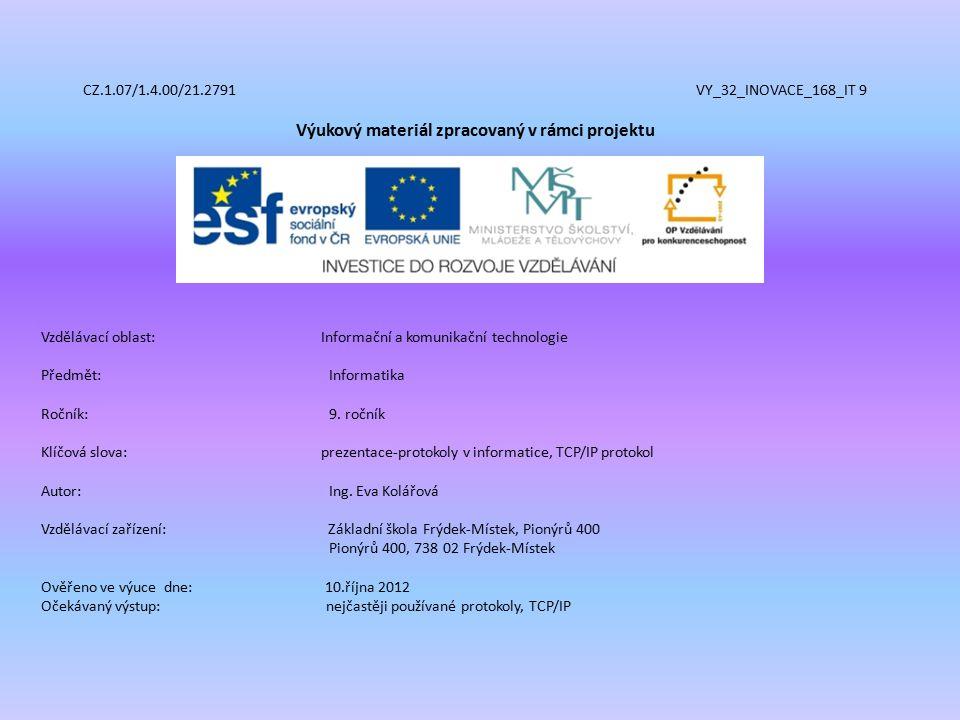 CZ.1.07/1.4.00/21.2791 VY_32_INOVACE_168_IT 9 Výukový materiál zpracovaný v rámci projektu Vzdělávací oblast: Informační a komunikační technologie Předmět:Informatika Ročník:9.