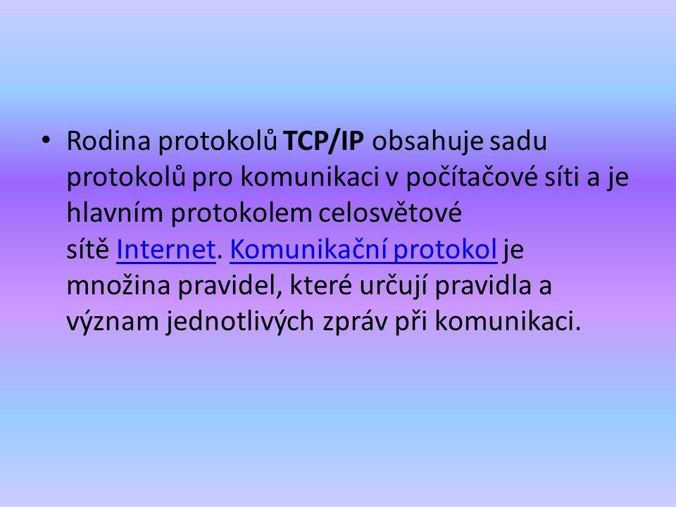 Rodina protokolů TCP/IP obsahuje sadu protokolů pro komunikaci v počítačové síti a je hlavním protokolem celosvětové sítě Internet. Komunikační protok