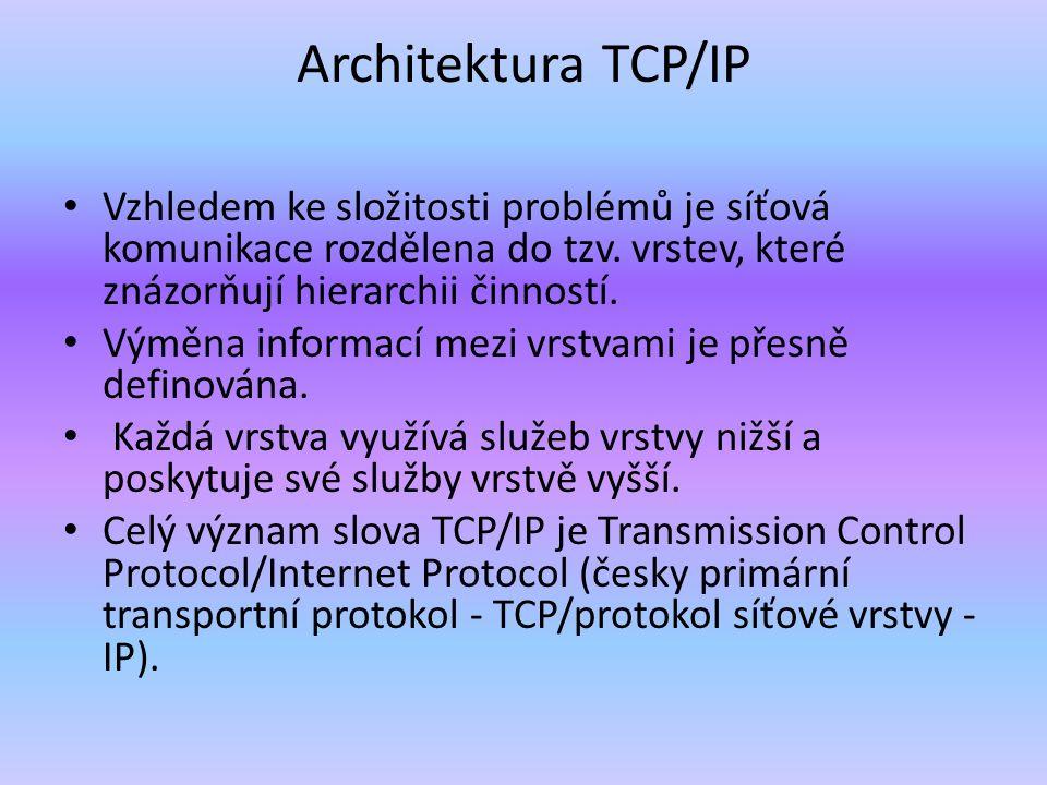 Architektura TCP/IP je členěna do čtyř vrstev (na rozdíl od referenčního modelu OSI se sedmi vrstvami):referenčního modelu OSI aplikační vrstva (application layer) to jsou programy (procesy), které využívají přenosu dat po síti ke konkrétním službám pro uživatele transportní vrstva (transport layer) vrstva je implementována až v koncových zařízeních (počítačích) a umožňuje proto přizpůsobit chování síti potřebám aplikace síťová vrstva (internet layer) vrstva zajišťuje především síťovou adresaci, směrování a předávání datagramů.datagramů vrstva síťového rozhraní (network interface) nejnižší vrstva umožňuje přístup k fyzickému přenosovému médiu