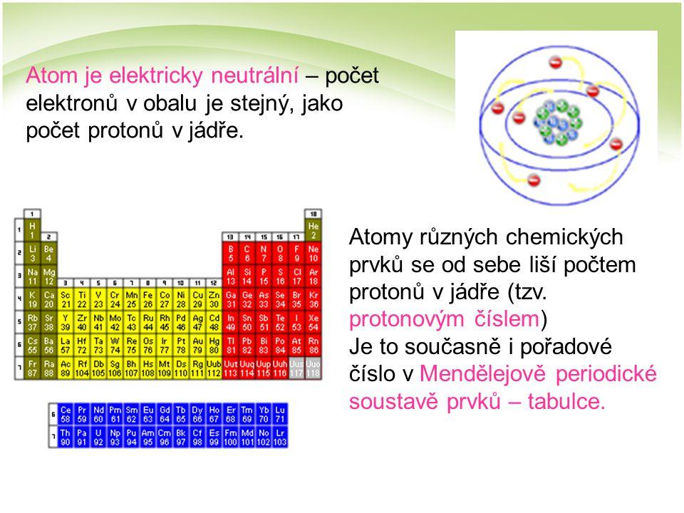 Atom je elektricky neutrální – počet elektronů v obalu je stejný, jako počet protonů v jádře. Atomy různých chemických prvků se od sebe liší počtem pr