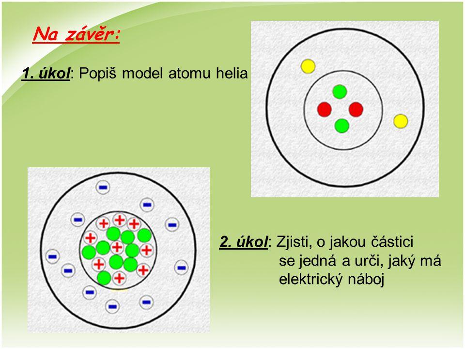 1. úkol: Popiš model atomu helia 2. úkol: Zjisti, o jakou částici se jedná a urči, jaký má elektrický náboj Na závěr: