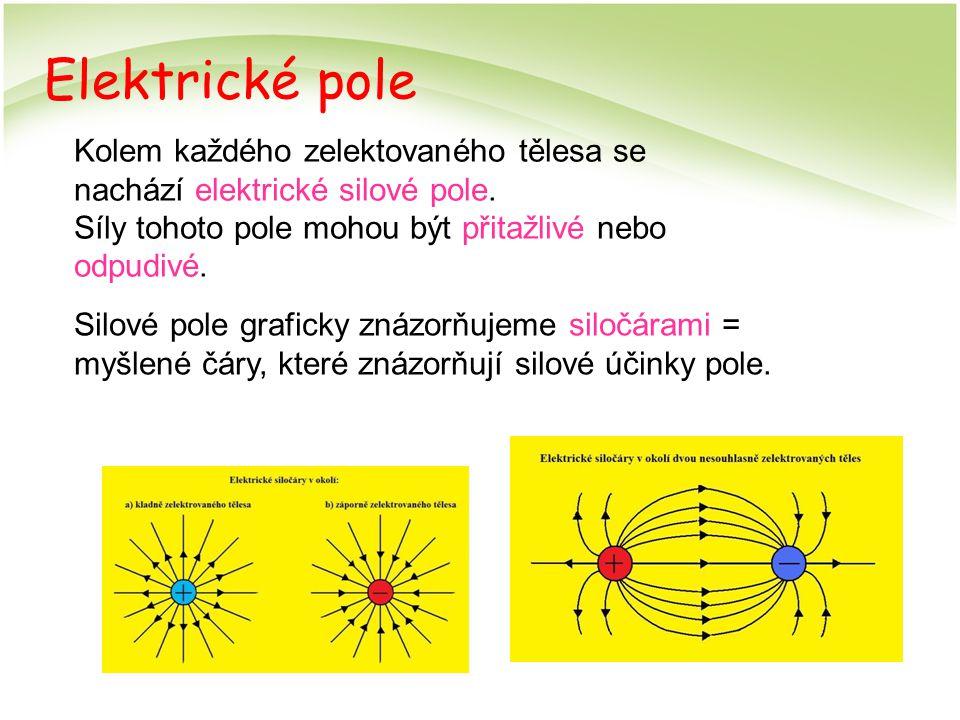 Elektrické pole Kolem každého zelektovaného tělesa se nachází elektrické silové pole. Síly tohoto pole mohou být přitažlivé nebo odpudivé. Silové pole