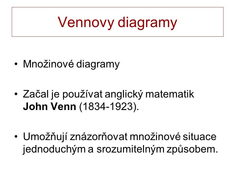 Vennovy diagramy Množinové diagramy Začal je používat anglický matematik John Venn (1834-1923). Umožňují znázorňovat množinové situace jednoduchým a s