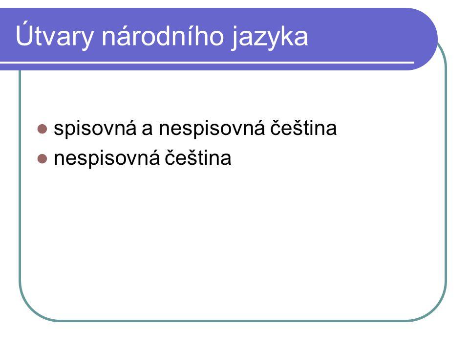 Spisovná čeština reprezentativní útvar národního jazyka, jednotný na celém území jazyk státních a úředních dokumentů jazyk literatury jednací jazyk na veřejnosti