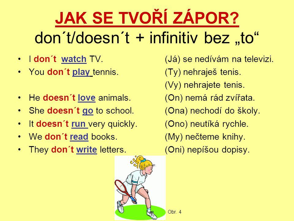 """JAK SE TVOŘÍ ZÁPOR? don´t/doesn´t + infinitiv bez """"to"""" I don´t watch TV.(Já) se nedívám na televizi. You don´t play tennis.(Ty) nehraješ tenis. (Vy) n"""