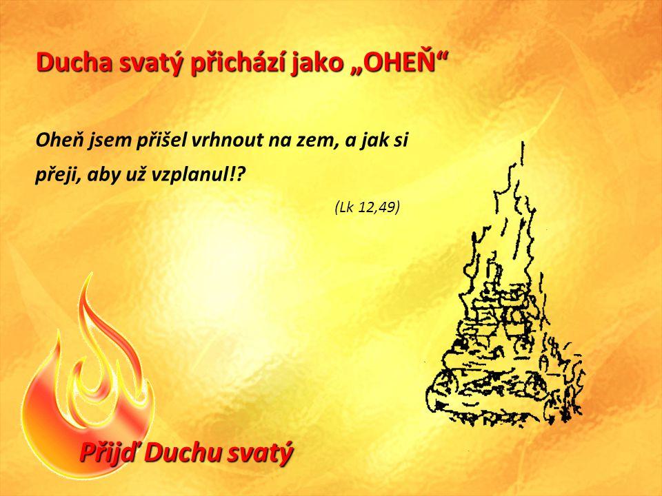 """Přijď Duchu svatý Ducha svatý přichází jako """"OHEŇ Oheň jsem přišel vrhnout na zem, a jak si přeji, aby už vzplanul!."""