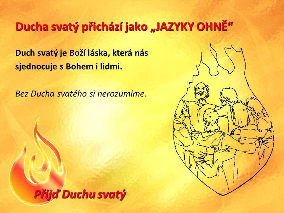 """Přijď Duchu svatý Ducha svatý přichází jako """"JAZYKY OHNĚ Duch svatý je Boží láska, která nás sjednocuje s Bohem i lidmi."""