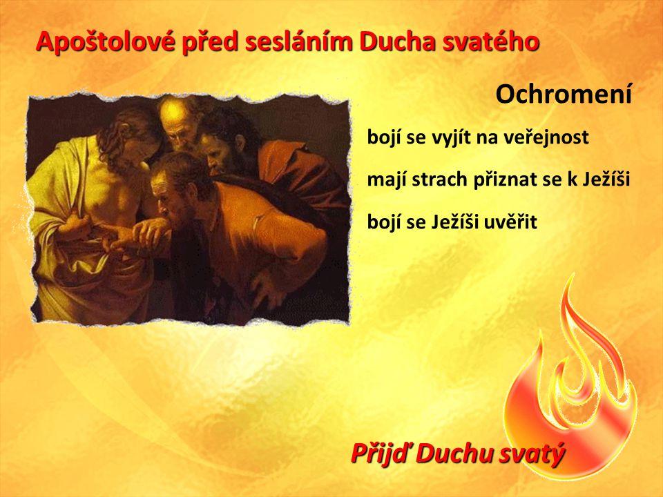 Přijď Duchu svatý Apoštolové před sesláním Ducha svatého Ochromení bojí se vyjít na veřejnost mají strach přiznat se k Ježíši bojí se Ježíši uvěřit