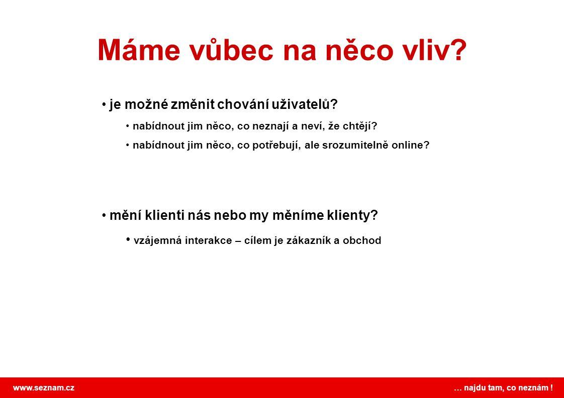 www.seznam.cz … najdu tam, co neznám . Máme vůbec na něco vliv.