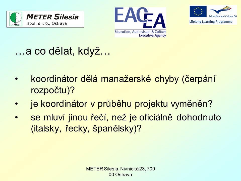 METER Silesia, Nivnická 23, 709 00 Ostrava …a co dělat, když… koordinátor dělá manažerské chyby (čerpání rozpočtu)? je koordinátor v průběhu projektu