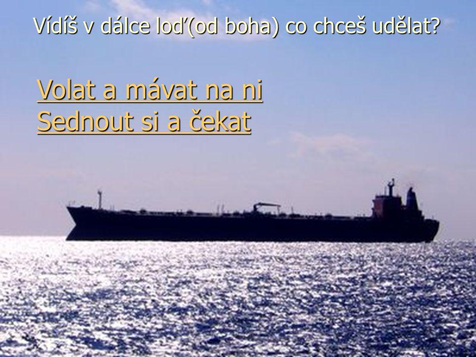 Vídíš v dálce loď co chceš udělat? Vídíš v dálce loď(od boha) co chceš udělat? Volat a mávat na ni Volat a mávat na ni Sednout si a čekat Sednout si a